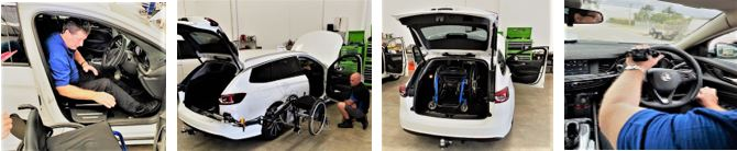 four pics of car modifications wheelchair lift & electronic hand control