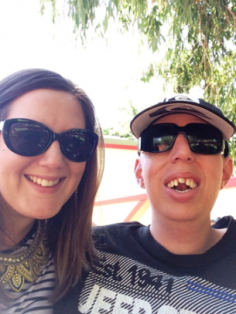 mother & son in sunglasses smiling for a selfie