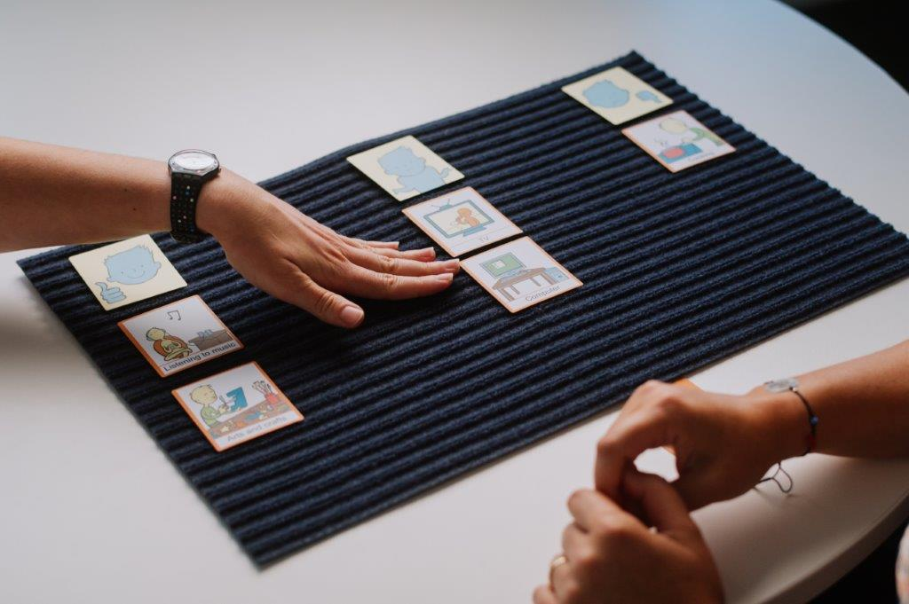 3 rows of picture cards on mat on desk with hand indicating middle row and others hands together on desk