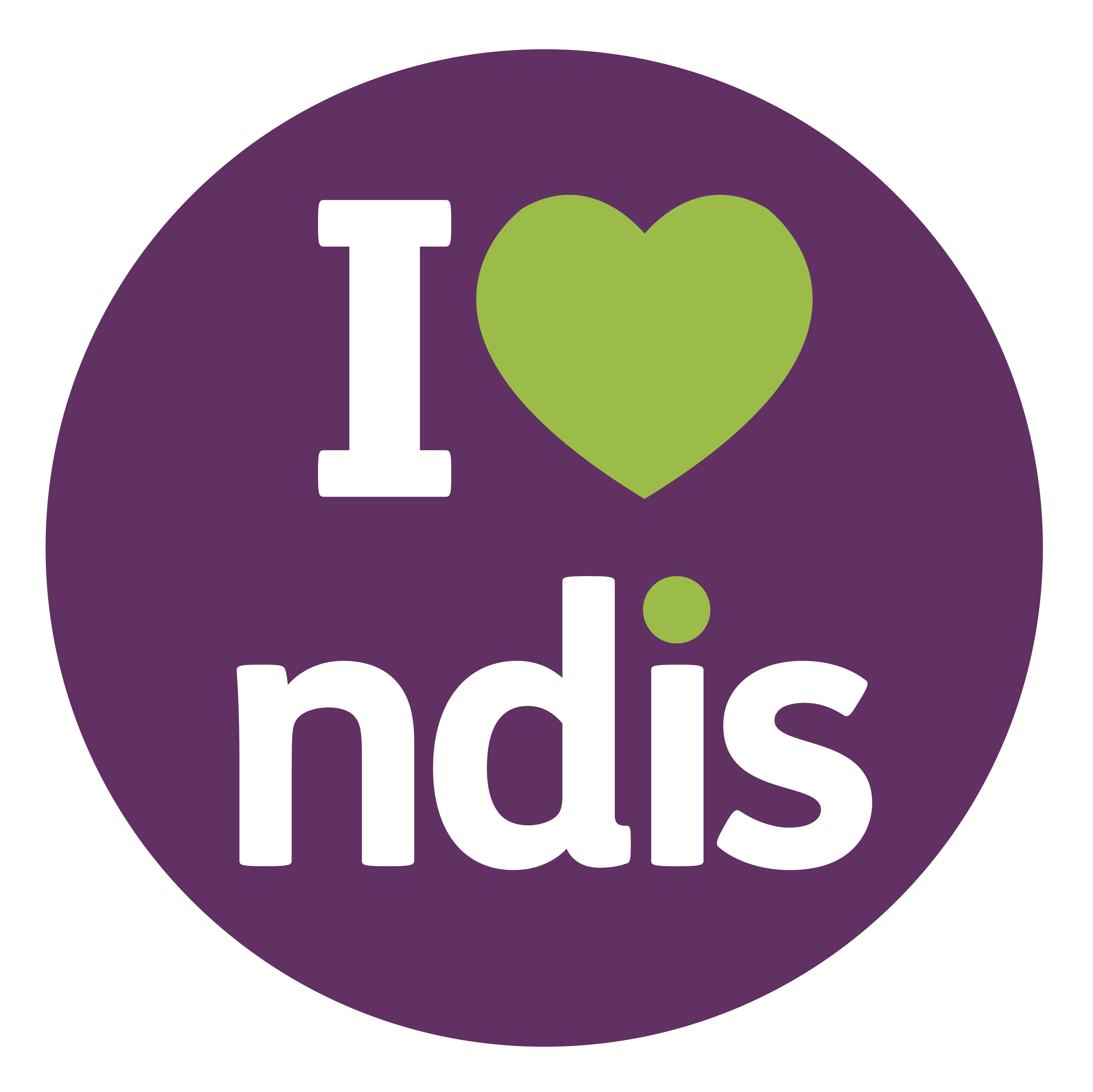 Purple circle with text I love NDIS