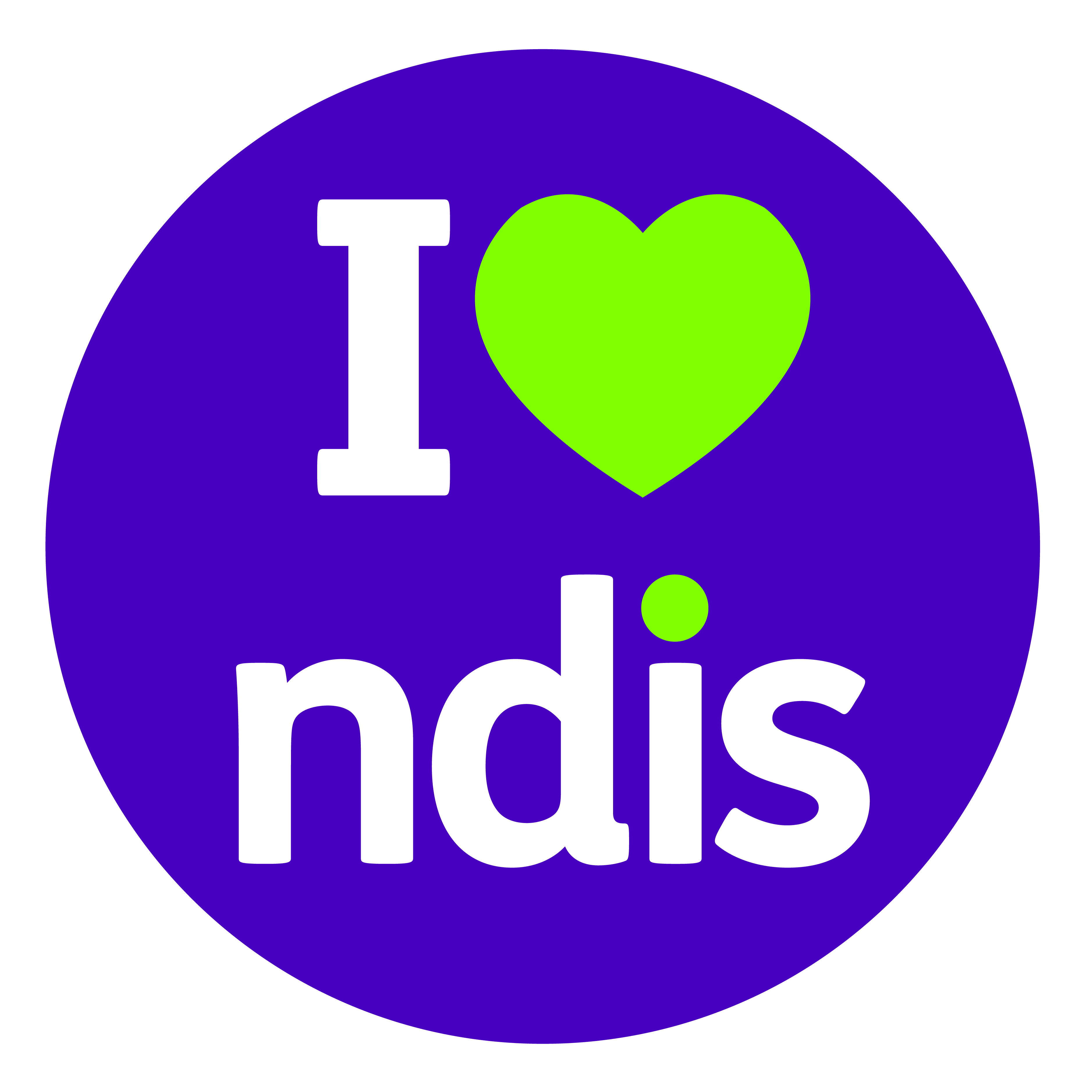 Purple circle with text: I love NDIS