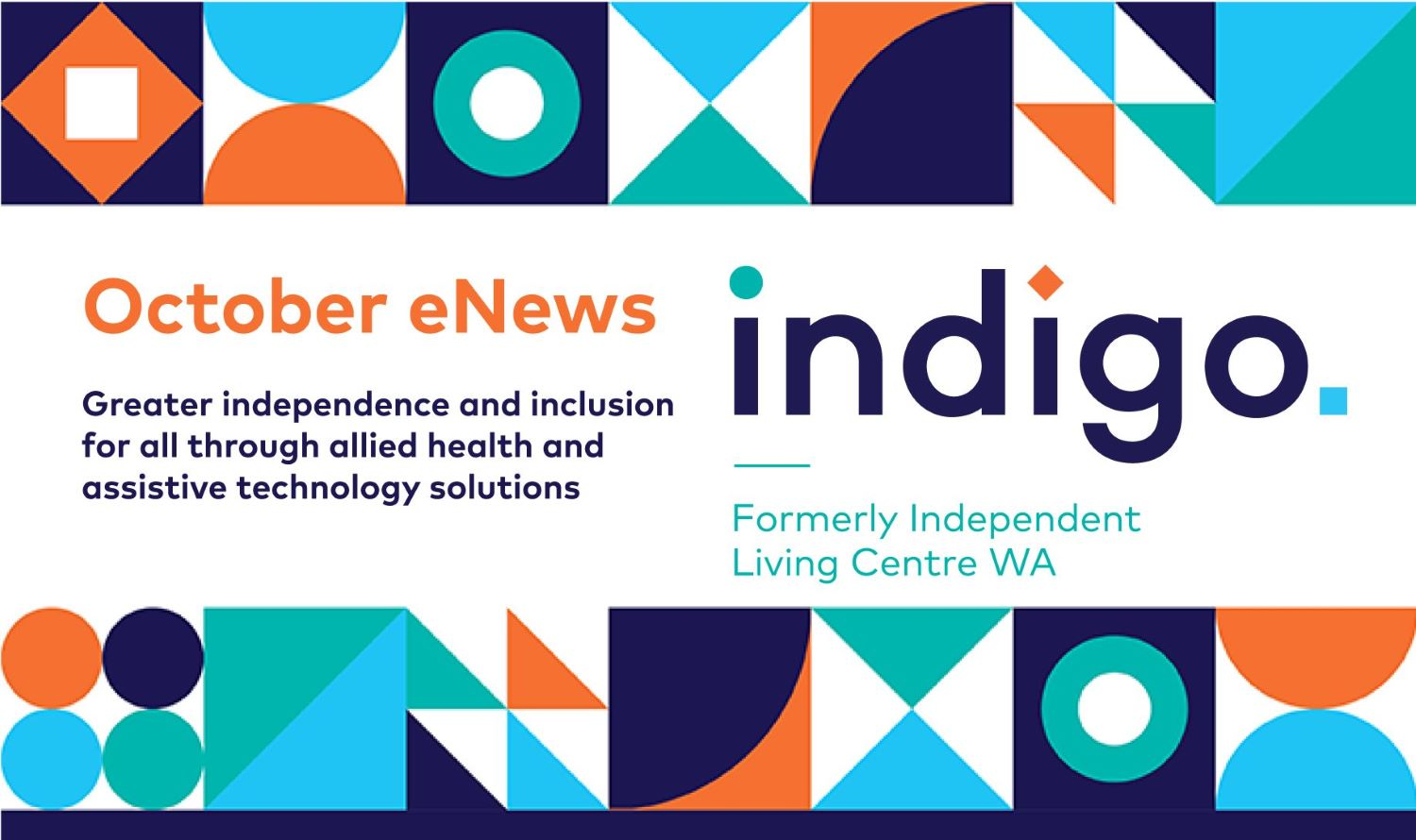 October eNews banner with Indigo graphics