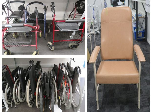 3 x pictures of walkers, wheelchairs, chair