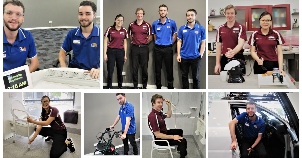 Collage of 3 x male & a female in blue and maroon t-shirts demonstrating AT devices & equipment